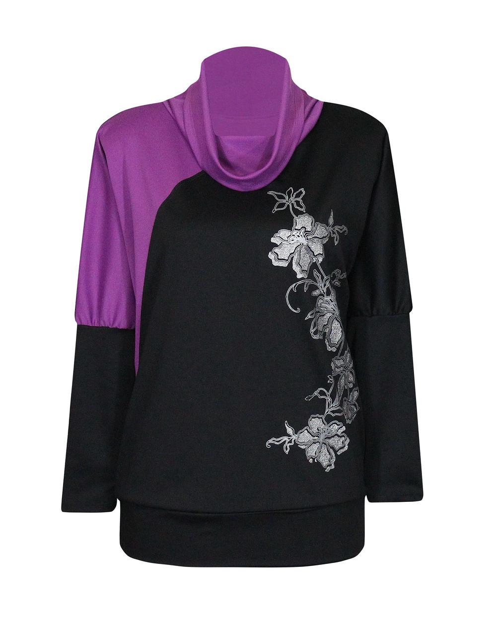 Сиреневая двухцветная женская кофта больших размеров Ветка