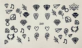 Наклейки для ногтей на водной основе слайдер-дизайн  249