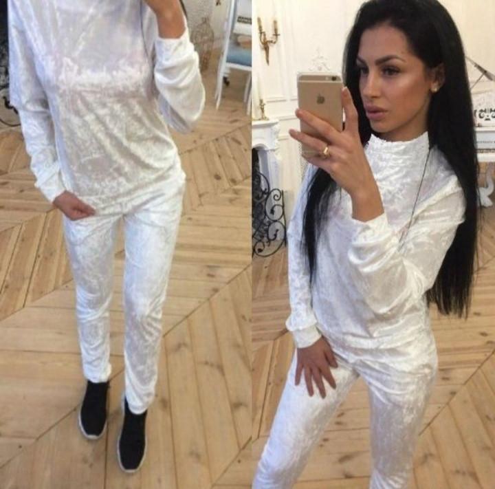 Ультрамодный велюровый женский спортивный костюм Л-ка белый