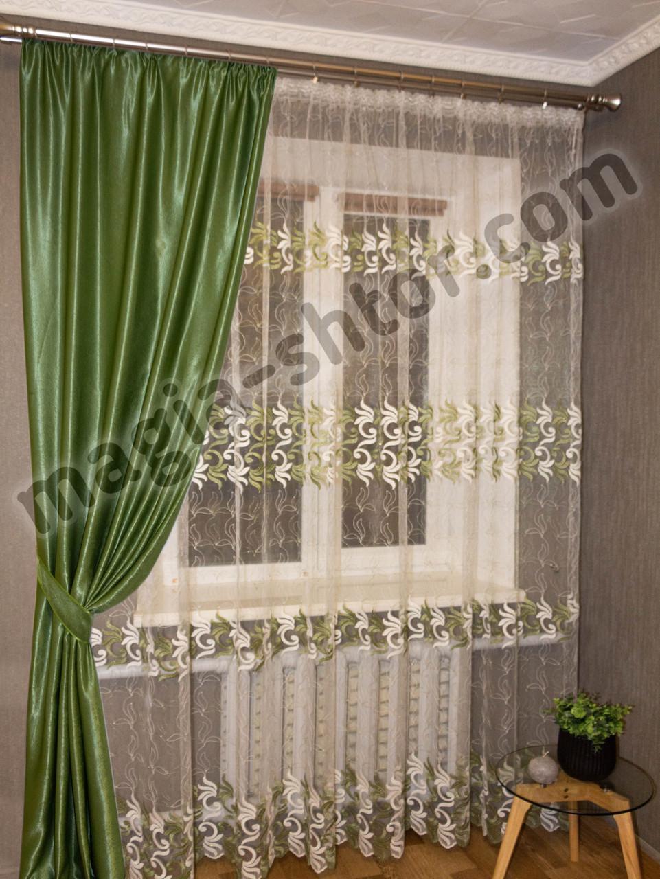 Тюль на фатине в спальню Турция, оливковая с вышивкой