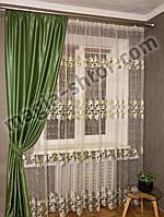 Тюль на фатине в спальню Турция, оливковая с вышивкой, фото 1
