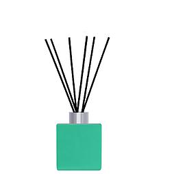 Флакон квадратный для аромадиффузора 50 мл БИРЮЗОВЫЙ в комплекте черные палочки 6 шт