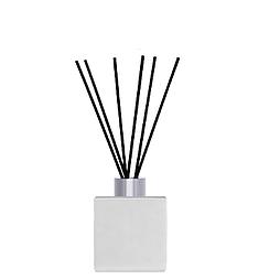 Флакон квадратный для аромадиффузора 50 мл БЕЛЫЙ в комплекте черные палочки 6 шт