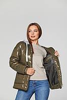 Куртка для беременных демисезонная лаковая Zaragoza Хаки 2в1 - S(42 ) M (44 ), L(46) , XL(48), XXL (50)
