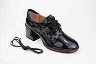 Туфли с сеткой горошек Geronea 53802 кожа лак
