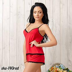 Пижама женская трикотажная с кружевом: маечка и шорты New Fashion SKV-140red