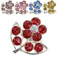18408 брошь KATTi металл серебро Цветок с цветными стразами