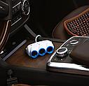 Автомобільна зарядка-розгалужувач Hoco C1 Three in one Car charger 3 гнізда, 2 USB виходу (Білий)АЗУ, фото 2