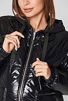 Куртка для беременных демисезонная лаковая Zaragoza Черная 2в1- S(42 ) M (44 ), L(46) , XL(48), XXL (50)