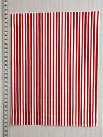 Отрез сатина Красные полоски на белом  -  40*50 см