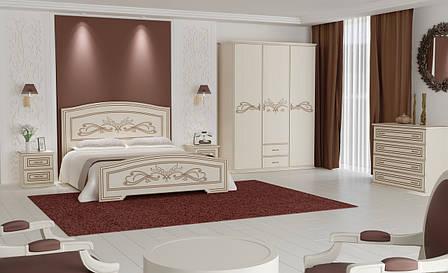 Кровать Анабель (1,80 м.) (белый супер мат + патина серебро), фото 2