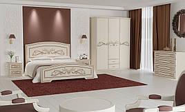 Кровать Анабель (1,40 м.) (белый супер мат + патина серебро)