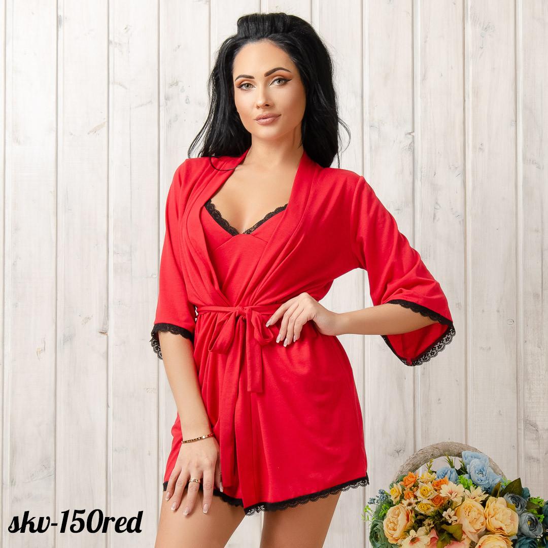 Халат женский трикотажный New Fashion SKV-150red | 1 шт.