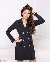 Практичное стильное платье - пиджак прямого силуэта арт 7084