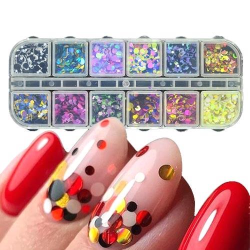 Різнобарвні бліскіткі 1-3мм для нігтів, нейл-арту