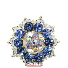 18407 брошь KATTi металл серебро Цветок с цветными стразами, фото 2