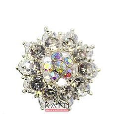 18407 брошь KATTi металл серебро Цветок с цветными стразами, фото 3