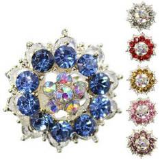 18407 брошь KATTi металл серебро Цветок с цветными стразами