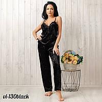 Бархатная женская пижама велюр: майка и штаны в комплекте New Fashion VL-130black | 1 шт.