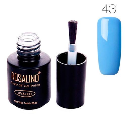 Гель-лак для ногтей маникюра 7мл Rosalind, шеллак, 43 голубой