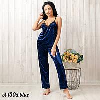 Комплект-пижама женский велюровый с кружевом: майка и штаны New Fashion VL-130d.blue