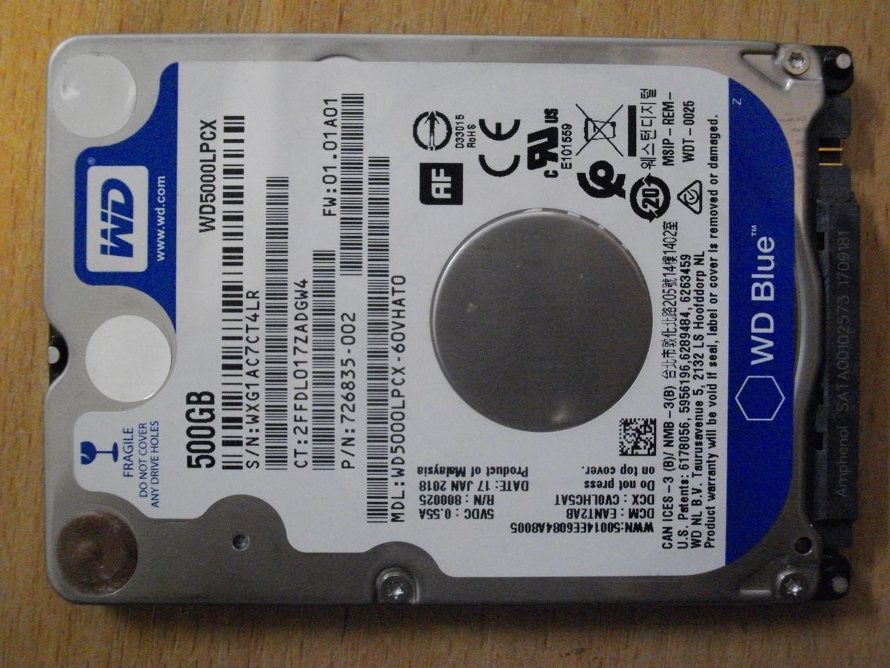 HDD Жесткий диск WD 500GB WD5000LPCX SATA БУ Хорошее состояние.