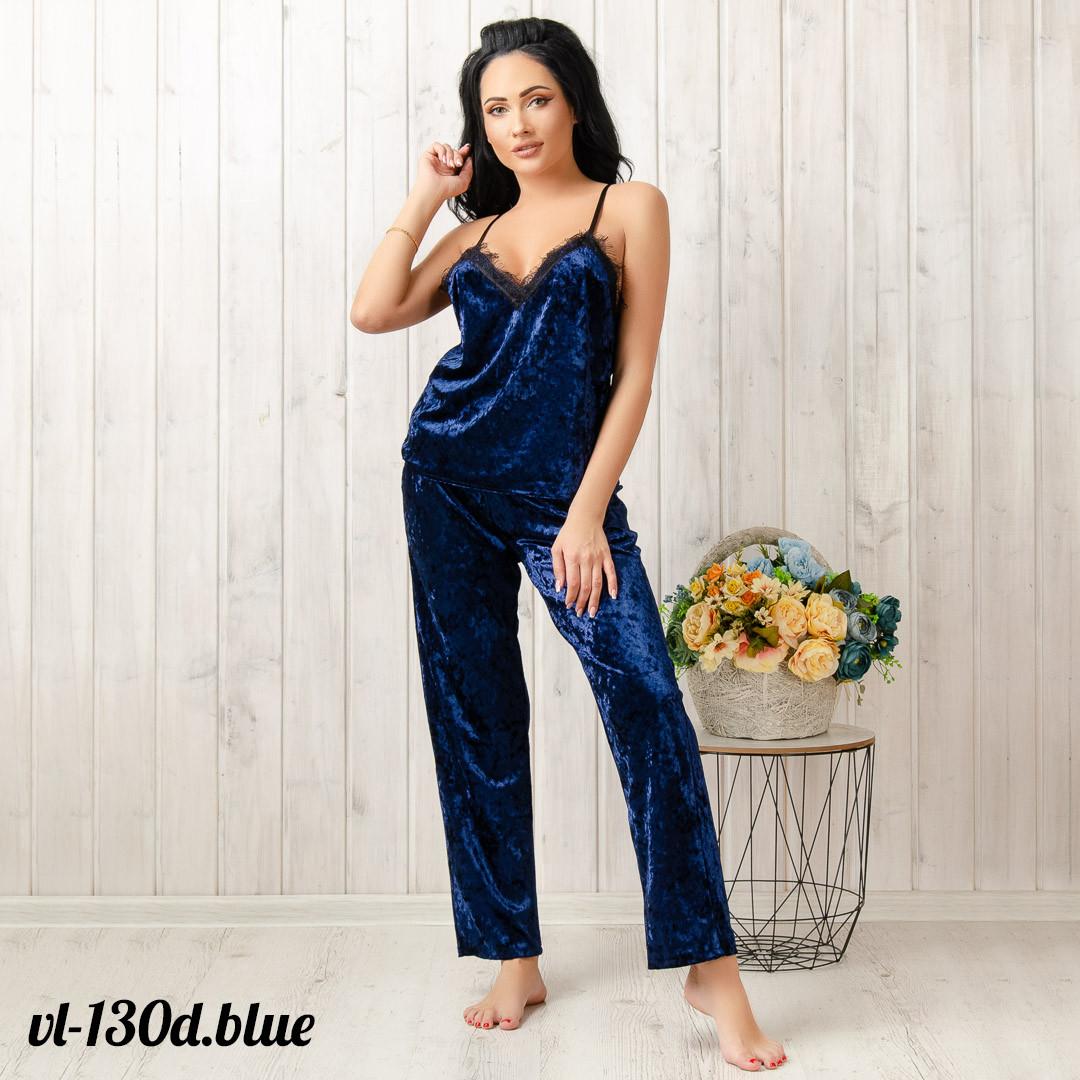 Комплект-пижама женский велюровый: майка и штаны New Fashion VL-130d.blue | 1 шт.