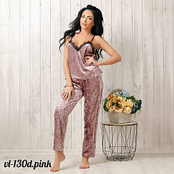 Комплект-двойка женский велюровый: штаны и майка New Fashion VL-130d.pink | 1 шт.