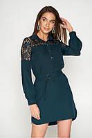 Женское платье в рубашечним стиле с кружевом ( 3 расцветки)