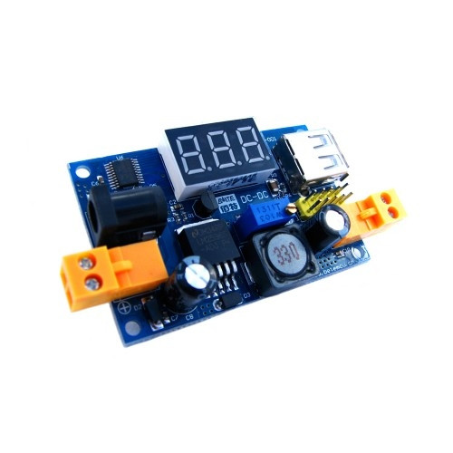 Преобразователь напряжения понижающий LM2596 4-40 на 1-37В, вольтметр, USB