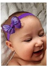 Детская повязка для девочки фиолетовая Бабочка