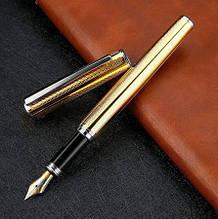 Ручка с открытым пером в металлическом корпусе золотистая