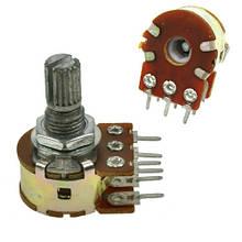 Резистор переменный, потенциометр WH148 B10K линейный 15мм 10кОм стерео