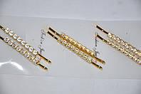 Невидимка для волос в золотом металле со стразами (5 пар)