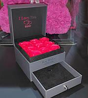 Подарочная коробка с розами из мыла и отделением под украшения