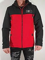 Мужская стильная черно-красная демисезонная куртка .