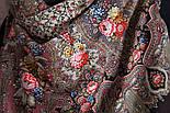 Миндаль 1369-27, павлопосадский платок (шаль) из уплотненной шерсти с шелковой вязанной бахромой, фото 6