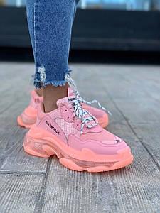 Женские Кроссовки Balenciaga Triple S Soft Pink Розовые