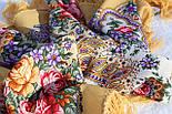 Весенние зори 1706-2, павлопосадский платок шерстяной с шерстяной бахромой, фото 5