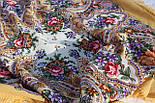 Весенние зори 1706-2, павлопосадский платок шерстяной с шерстяной бахромой, фото 7