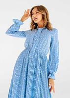 Платье плиссе в горох норма и батал,платья оптом цвет голубой.