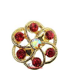 18406 брошь KATTi металл золото Цветок с цветными стразами, фото 3