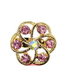 18406 брошь KATTi металл золото Цветок с цветными стразами, фото 2
