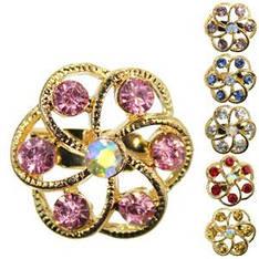 18406 брошь KATTi металл золото Цветок с цветными стразами