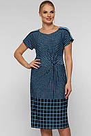 Модное клетчатое женское платье большого размера, цвет голубой, размер 52-58