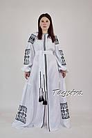 Вышитое платье вышиванка черным по белому, белое платье в пол, вышиванка лен, вышитое платье бохо-шик