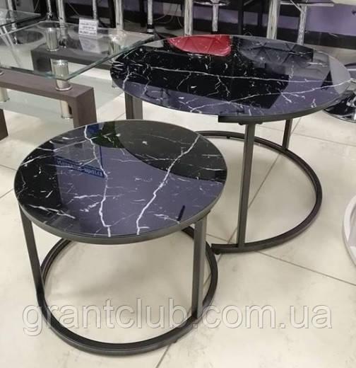 Комплект журнальных столов CS-25 стекло черный мрамор Vetro Mebel (бесплатная доставка)