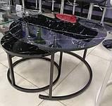 Комплект журнальных столов CS-25 стекло черный мрамор Vetro Mebel (бесплатная доставка), фото 7
