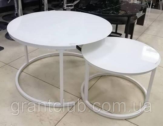 Комплект журнальных столов CS-25 белый стекло Vetro Mebel (бесплатная доставка)
