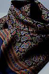 Граф 1418-18, павлопосадский шарф (кашне) шерсть-шелк (атлас) двусторонний мужской с осыпкой, фото 3